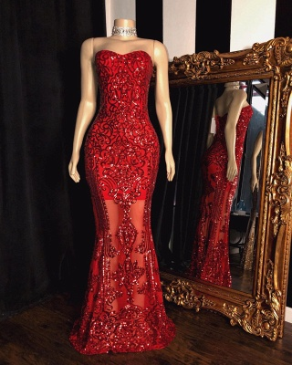 Sparkly Strapless Sweetheart Floor Length Red Prom Dresses_2