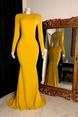 Women's Gorgeous High Neck Long-Sleeve Open Back Prom Dresses in Yellow