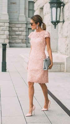 Sheath Blushing Pink Prom Dresses | Short Sleeves Lace Evening Gowns_3