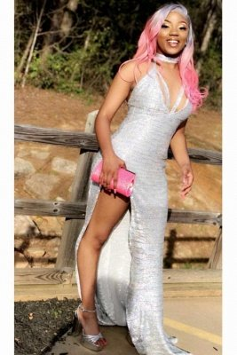 Halter Silver V-neck High Split Sequin Column Prom Dresses_4
