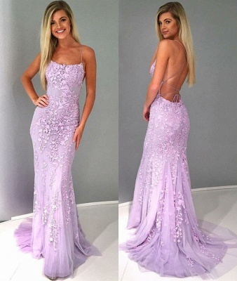 Criss-cross Straps Lace Fitted Long Prom Dresses | Trendy Applique Evening Dresses_4