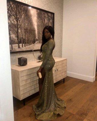V-neck Long Sleeves Sequins Thigh Split Column Prom Dresses_2