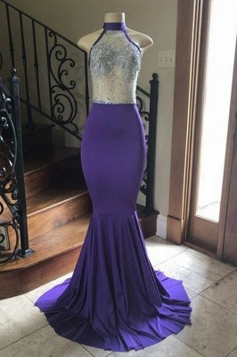 Sexy High Neck Sheer Top Mermaid Floor Length Prom Dresses