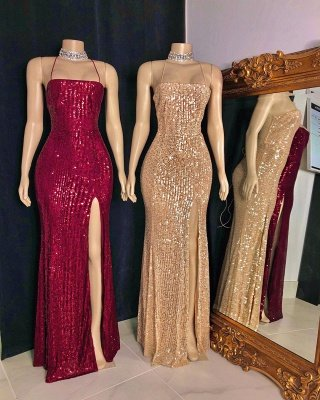 Stylish Spaghetti Straps Sequins Criss-cross Straps Column Prom Dresses_3
