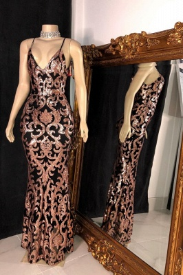 Spaghetti Straps V-neck Floor Length Sequined Sexy Fitted Prom Dresses