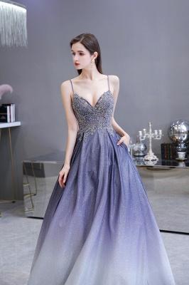 Spaghetti Straps V-neck Beaded Appliques A-line Prom Dresses_10