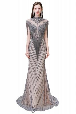 High Neck Short Sleeves Sheer Beaded Fitted Glittering Prom Dresses_11