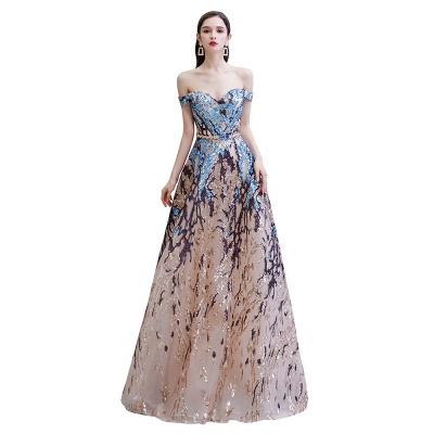 Off the Shoulder Sweetheart Beaded Belted Sparkly A-line Prom Dresses_9
