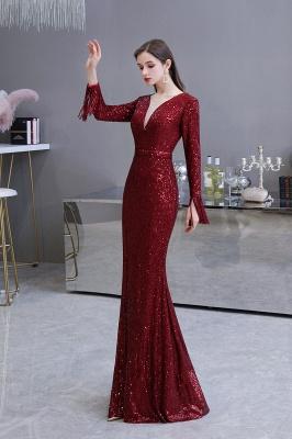 V-neck Long Sleeves Fitted Floor Length Burgundy Sequin Prom Dresses_23