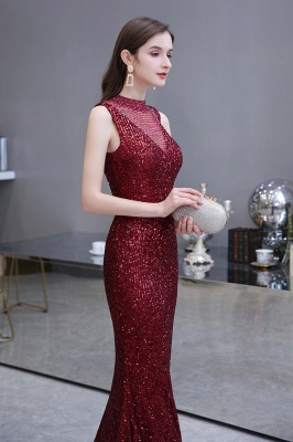 High Neck Sleeveless Floor Length Sparkly Sequin Fitted Prom Dresses_9