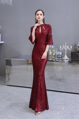 Jewel Keyhole Half Sleeves Floor Length Sequin Burgundy Prom Dresses_7
