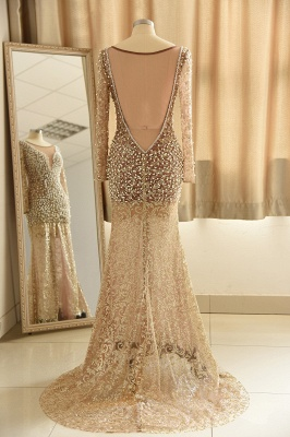 Gold Graceful Long Sleeve Applique Beaded Sheath Floor Length Prom Dresses_3