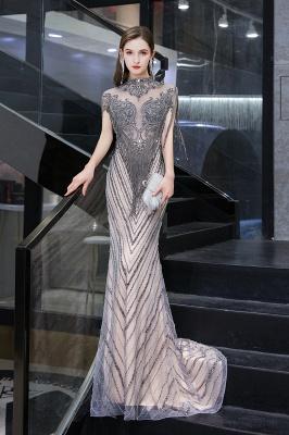 High Neck Short Sleeves Sheer Beaded Fitted Glittering Prom Dresses_7