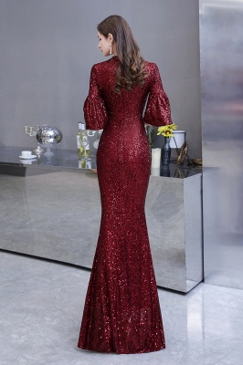 Jewel Keyhole Half Sleeves Floor Length Sequin Burgundy Prom Dresses_8
