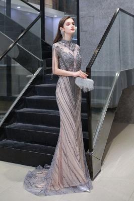 High Neck Short Sleeves Sheer Beaded Fitted Glittering Prom Dresses_4
