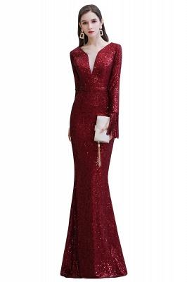 V-neck Long Sleeves Fitted Floor Length Burgundy Sequin Prom Dresses_1