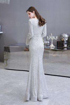 V-neck Long Sleeves Fitted Floor Length Burgundy Sequin Prom Dresses_7