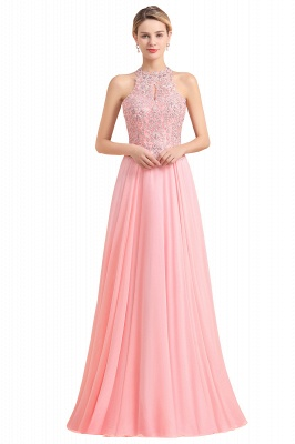 Halter Full Back Applique Beaded Pearls Chiffon A Line Prom Dresses_2