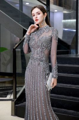 High Neck Long Sleeves Sheer Beaded Sexy Fitted Prom Dresses_5
