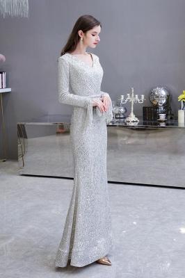 V-neck Long Sleeves Fitted Floor Length Burgundy Sequin Prom Dresses_8
