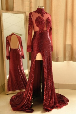 Burgundy High Neck Open Back Long Sleeve Applique Sequin Side Slit Sheath Prom Dresses_4