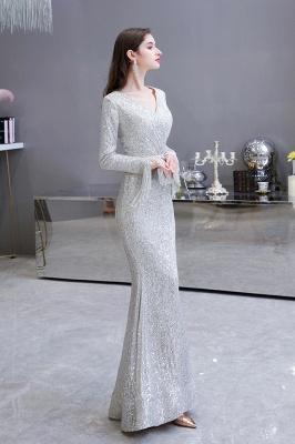 V-neck Long Sleeves Fitted Floor Length Burgundy Sequin Prom Dresses_5