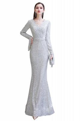 V-neck Long Sleeves Fitted Floor Length Burgundy Sequin Prom Dresses_2