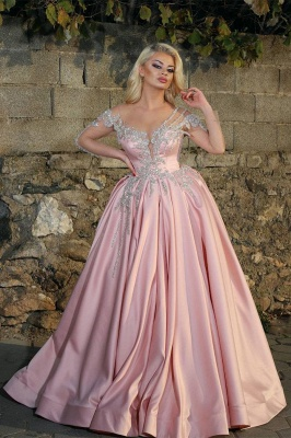 Off the Shoulder Long Sleeves Appliques Pink Ball Gown Prom Dresses_1