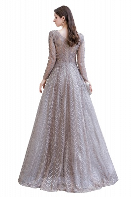 V-neck Long Sleeves Floor Length Lace A-line Gorgeous Prom Dresses_15