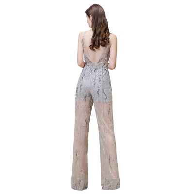 Round Neck Sleeveless Open Back Beaded Sparkly Prom Jumpsuit_12