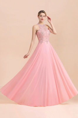 Halter Full Back Applique Beaded Pearls Chiffon A Line Prom Dresses_21