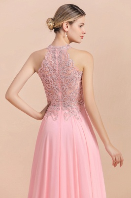 Halter Full Back Applique Beaded Pearls Chiffon A Line Prom Dresses_19