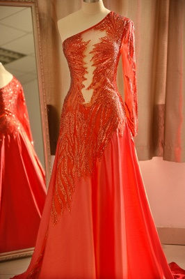 Red One Shoulder Long Sleeve Applique Floor Length A Line Prom Dresses_5
