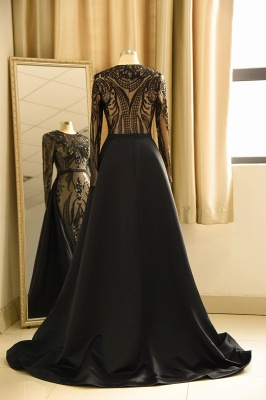 Black Jewel Long Sleeve Applique Sequin Sheath Prom Dresses With Detachable Skirt_3