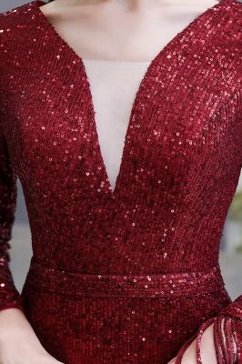 V-neck Long Sleeves Fitted Floor Length Burgundy Sequin Prom Dresses_21