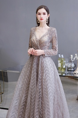 V-neck Long Sleeves Floor Length Lace A-line Gorgeous Prom Dresses_5