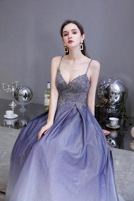Spaghetti Straps V-neck Beaded Appliques A-line Prom Dresses_8
