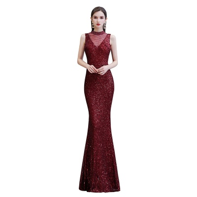 High Neck Sleeveless Floor Length Sparkly Sequin Fitted Prom Dresses_8
