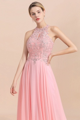 Halter Full Back Applique Beaded Pearls Chiffon A Line Prom Dresses_20