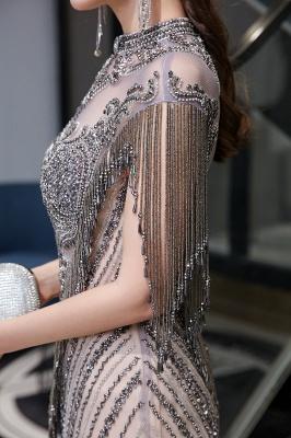 High Neck Short Sleeves Sheer Beaded Fitted Glittering Prom Dresses_15