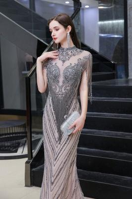 High Neck Short Sleeves Sheer Beaded Fitted Glittering Prom Dresses_3