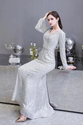 V-neck Long Sleeves Fitted Floor Length Burgundy Sequin Prom Dresses_12