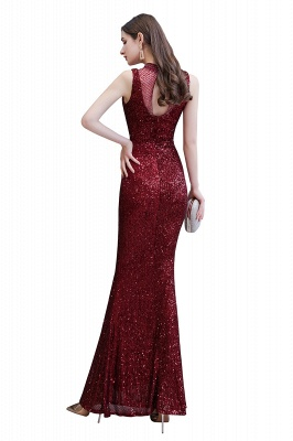 High Neck Sleeveless Floor Length Sparkly Sequin Fitted Prom Dresses_11