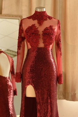 Burgundy High Neck Open Back Long Sleeve Applique Sequin Side Slit Sheath Prom Dresses_5