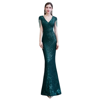 V-neck Cap Sleeves Floor Length Emerald Fitted Sequin Prom Dresses_10