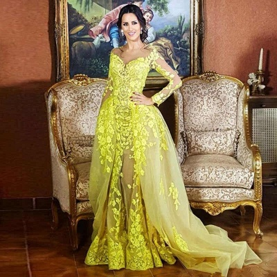 Jewel Long Sleeves Appliques Yellow Prom Dresses with Train_3