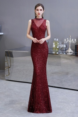 High Neck Sleeveless Floor Length Sparkly Sequin Fitted Prom Dresses_2