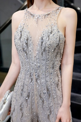 Round Neck Sleeveless Open Back Beaded Sparkly Prom Jumpsuit_7
