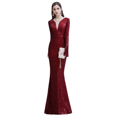 V-neck Long Sleeves Fitted Floor Length Burgundy Sequin Prom Dresses_20