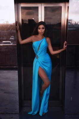One Shouder Cut Outs Side Thigh Slit Sky Blue Prom Dresses_1